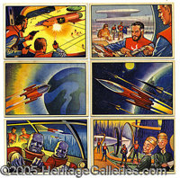 "1951 BOWMAN ""JETS, ROCKETS AND SPACEMEN"" SET. While it's fairly certain that 144 different cards were in the p..."