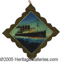 Antiques:Decorative Americana, REVERSE-ON-GLASS PAINTING OF THE DOOMED OCEAN LINER LUSITANIA. ...