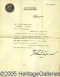 "Autographs:Celebrities, SIGNED LETTER BY THE LEGENDARY WILLIAM ""BIG BILL"" THOMPSON. 191..."