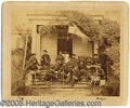 Military & Patriotic:Civil War, BRADY ALBUMEN OF TORBERT AND STAFF SEATED ON FRONT STEPS. Stamp...