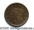 "Miscellaneous:Coins and Currency, LOVELY 1853 HALF CENT. A very nice A.U. 58 ""type"" coin, with at..."