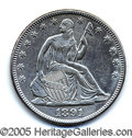 Miscellaneous:Coins and Currency, UNCIRCULATED 1891 SEATED LIBERTY HALF DOLLAR. Last year of this...