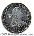 Miscellaneous:Coins and Currency, GORGEOUS 1807 DRAPED BUST HALF DOLLAR. A lovely about- uncircul...