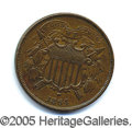 """Miscellaneous:Coins and Currency, SCARCE 1864 """"SMALL MOTTO"""" VARIETY TWO- CENT PIECE. A beautiful ..."""
