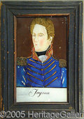 Political:3D & Other Display (pre-1896), ANDREW JACKSON REVERSE PAINTING ON GLASS.. This piece of Pennsy...