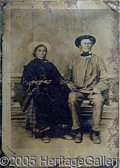 Photography:Tintypes, FULL PLATE TINTYPE OF NATIVE AMERICAN COUPLE.. This tintype dep...