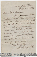Autographs:U.S. Presidents, SPECIAL GARFIELD LETTER. ON THE DEATH OF HIS LITTLE BOY... A SAD...