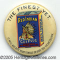 "Advertising:Pocket Mirrors & Pinbacks, SCARCE ""RED INDIAN"" TOBACCO ADVERTISING BUTTON. This 1¾"" item i..."
