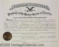 Autographs:U.S. Presidents, STRIKING THEODORE ROOSEVELT DOCUMENT SIGNED AS PRESIDENT. 16½ x...