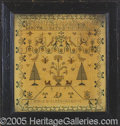 Political:Textile Display (pre-1896), 1837 DATED HANDEMBROIDERED SAMPLER IN THE ORIGINAL FRAME. Made ...