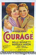 "Entertainment Collectibles:Movie, ""COURAGE"" ONE-SHEET. Early 1930's Warner Bros. ""period piece,"" ..."