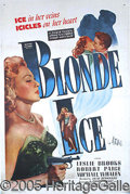"Entertainment Collectibles:Movie, ""BLONDE ICE"" ONE-SHEET"". The lead character of this ""B movie"" m..."