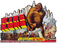 "SENSATIONAL DIE-CUT CARDBOARD 1933 ""KING KONG"" MOVIE SIGN. This is one that serious ""King Kong"" coll..."