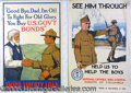 Military & Patriotic:WWI, COLLECTION OF (10) WWI PATRIOTIC AND PROPAGANDA POSTERS. Fine g...