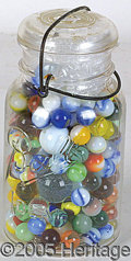 Antiques:Toys, VINTAGE GLASS MARBLE HORARD. Old-time Mason jar filled with at ...