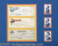 Entertainment Collectibles:Circus, GREAT SET OF RINGLING BROS. CIRCUS CHECKS SIGNED BY THREE RINGLI...