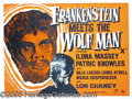 "Entertainment Collectibles:Movie, ""FRANKENSTEIN MEETS THE WOLFMAN"" ONE-SHEET. Gripping poster for..."