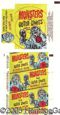 "Miscellaneous:Trading Cards, (2) ""MONSTERS FROM OUTER LIMITS"" WRAPPERS. Tough pair. ..."
