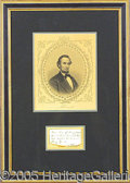 "Autographs:U.S. Presidents, ABRAHAM LINCOLN SIGNED, HANDWRITTEN NOTE. Small 3 ½ x 2"" note, ..."