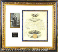 SUPERB LINCOLN SIGNED NAVAL COMMISSION. January 24, 1862 commission, appointing one Ransford E. Van Geieson as an assist...
