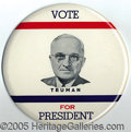 "Political:Pinback Buttons (1896-present), RARE 9"" PHILADELPHIA BADGE TRUMAN. This simple, but striking, b..."