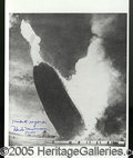 Autographs, IMAGE OF THE HINDENBERG DISASTER, AUTOGRAPHED BY ANNOUNCER HERB ...