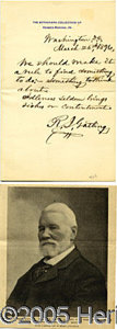 Autographs:Military Figures, SCARCE AUTOGRAPHED LETTER BY THE INVENTOR OF THE GATLING GUN. G...