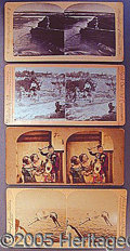 Photography:Stereo Cards, FOUR STEREO VIEWS OF PERFORMERS.. ...