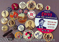 Advertising:Pocket Mirrors & Pinbacks, TWENTY-THREE BUTTONS AND ONE BRASS BADGE..