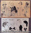 Entertainment Collectibles:Theatre, TWO ORIGINAL PEN AND INK PANEL SKETCHES FROM PLAYS..
