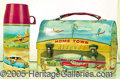 Miscellaneous:Lunchboxes, HOMETOWN AIRPORT DOME TOP LUNCH BOX. Made by American Thermos th...