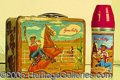 Miscellaneous:Lunchboxes, GENE AUTRY BOX AND MATCHING STEEL THERMOS. Made for the 1954-195...