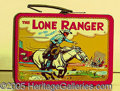 Miscellaneous:Lunchboxes, 1954 LONE RANGER WITH RED BAND LUNCHBOX. What a classic! Here we...