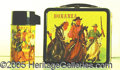 Miscellaneous:Lunchboxes, BONANZA BLACK RIMMED BOX AND THERMOS. What a great running serie...