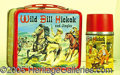 Miscellaneous:Lunchboxes, WILD BILL HICKOK AND JUNGLES LUNCH BOX. Colorful edges and a won...