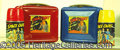 Miscellaneous:Lunchboxes, TOM CORBETT RED AND BLUE LUNCHBOX PAIR. What a great pair and in...