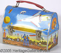 Miscellaneous:Lunchboxes, ASTRONAUT 1960 DOME LUNCH BOX. An inspiring scene for a youngste...