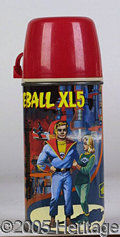 Miscellaneous:Lunchboxes, FIREBALL XL5 THERMOS. Great colorful thermos featuring a scene f...