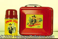 Miscellaneous:Lunchboxes, EXCELLENT HOPALONG CASSIDY RED LUNCHBOX AND THERMOS. This is abs...