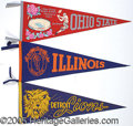 Miscellaneous, COLLECTION OF (11) FOOTBALL PENNANTS. These 1950-60's vintage pe...
