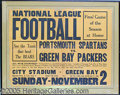 Miscellaneous, RARE EARLY C. 1930 PROFOOTBALL BROADSIDE POSTER. The Portsmouth ...