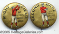 "Miscellaneous, TWO CHOICE 1890'S BASEBALL/ADVERTISING PIN BACKS. These ""positi..."