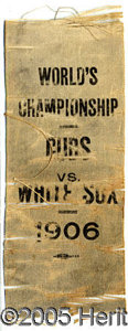 Miscellaneous, RARE 1906 WORLD SERIES SILK RIBBON. Condition is rough, as phot...