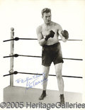 "Miscellaneous, GENE TUNNEY AUTOGRAPHED 8 BY 10"" PHOTO. Beautiful, bold blue in..."