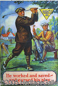 Miscellaneous, COLORFUL 1930'S GOLF LITHOGRAPH. This large display piece featu...