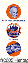 Miscellaneous, 1962 METS TEAM ROSTER. Their maiden voyage in 1962, as everyone...