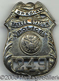Miscellaneous, YANKEE STADIUM POLICE BADGE. Masterful engineering yielded this...