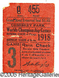 Miscellaneous, 1918 WORLD SERIES TICKET STUB. Deferring to much larger seating...
