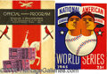 Miscellaneous, WORLD SERIES PROGRAMS. 257 Here offered are three vintage World...