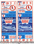 Miscellaneous, 1968 UNUSED WORLD SERIES TICKETS. The setting: Busch Stadium, G...